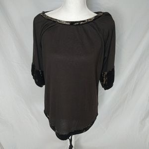 NWT The Limited Brown Velvet Lined Drawstring Top